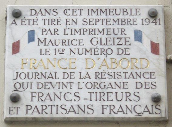 Plaque_Maurice_Gleize,_17_rue_des_Cloÿs,_Paris_18